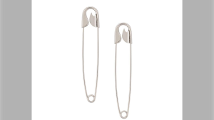 French luxury fashion brand Balenciaga is selling silver earrings that look like safety pins for $665. (Balenciaga/ModeSens)