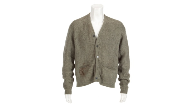 Olive green cardigan worn by Kurt Cobain
