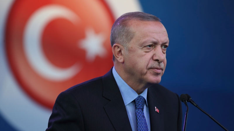 FILE - Turkey's President Recep Tayyip Erdogan attends a ceremony to inaugurate a Turkey-financed highway linking Belgrade with Bosnia's capital of Sarajevo in Sremska Raca during his two-day official visit, Tuesday, Oct. 8, 2019. (Presidential Press Service via AP, Pool)