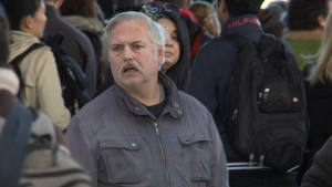 Riders confused and angry during delay at Tunney's Pasture Station in Ottawa on October 9, 2019. (CTV Ottawa)