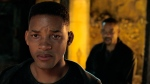 This image released by Paramount Pictures shows Will Smith, portraying Junior, foreground, and Henry Brogan in the Ang Lee film 'Gemini Man.' (Paramount Pictures via AP)