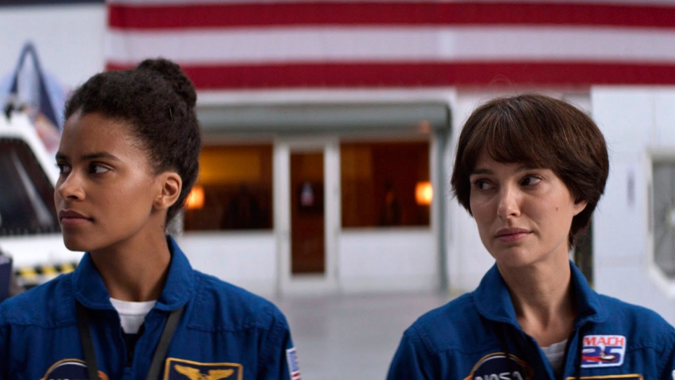 "This image released by Fox Searchlight Pictures shows Zazie Beetz, left, and Natalie Portman in a scene from ""Lucy In The Sky."" (Hilary B Gayle/Fox Searchlight Pictures via AP)"