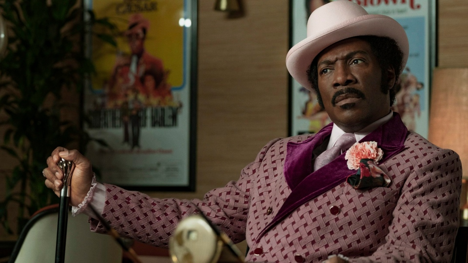 "This image released by Netflix shows Eddie Murphy in a scene from ""Dolemite Is My Name."" (François Duhamel/Netflix via AP)"