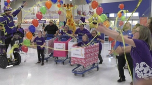 Six-year-old Eleonore goes on a three-minute shopping spree at Toys 'R' Us.