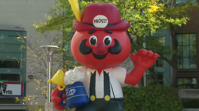 An inflatable Onkel Hans marked the celebrations in Cambridge on Wednesday.