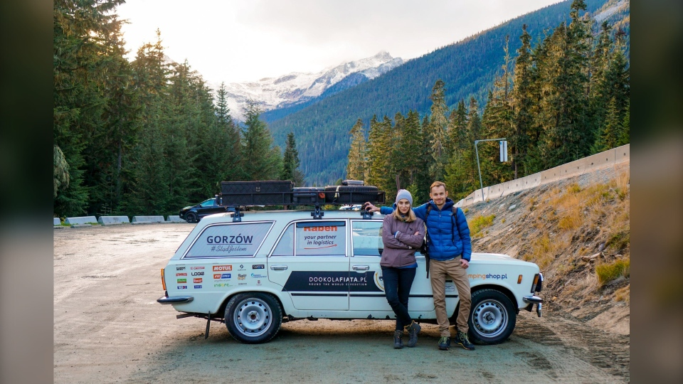 Travelling the world in a Soviet-era car, Pawel and Joanna Poterski arrived in Calgary on Monday. (Pawel and Joanna Poterski)