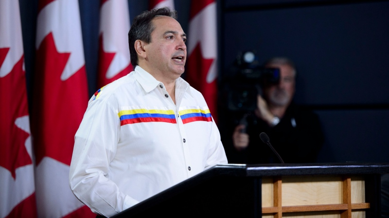 Assembly of First Nations (AFN) National Chief Perry Bellegarde speaks during a press conference at the National Press Theatre in Ottawa on Monday, Sept. 9, 2019. THE CANADIAN PRESS/Sean Kilpatrick