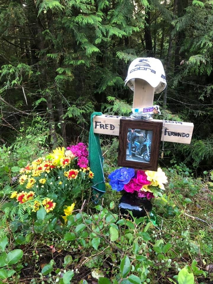 A memorial created for Fred Fernando by family and friends at the scene of the crash. (Patriarch/Facebook)