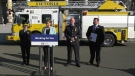 Jennifer Rice, parliamentary secretary for emergency preparedness, speaks at a news conference about fire prevention week.