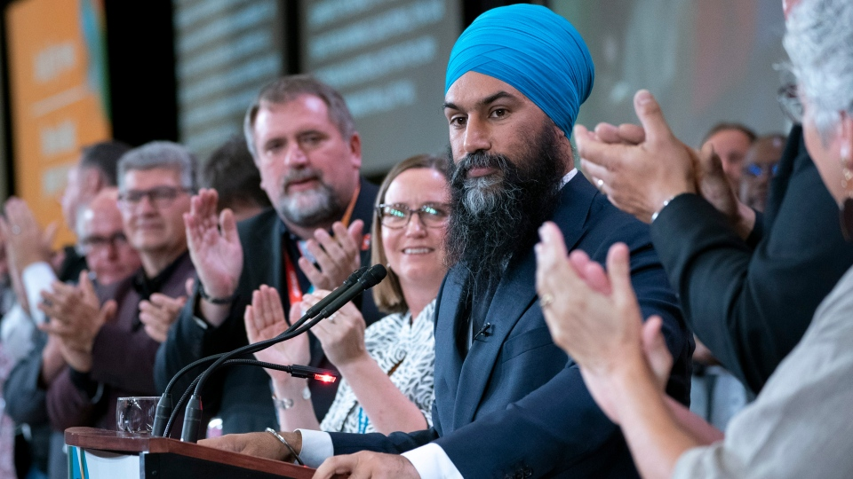 NDP Leader Jagmeet Singh is applauded during a speech at the Canadian Union of Public Employees convention in Montreal, on Wednesday, Oct. 9, 2019. THE CANADIAN PRESS/Paul Chiasson