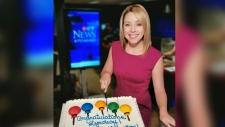 Lyndsay Morrison cuts her cake