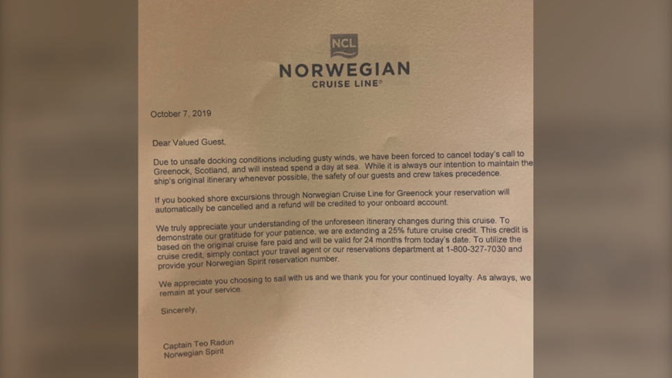 Letter from Norwegian Cruise Line to passengers of the Norwegian Spirit. Credit for the photos is: @NCLHELL / Twitter via Storyful