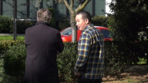Accused arsonist Wei Li (right) with his lawyer Rolfe Horne on Wednesday, Oct. 9, 2019. (CTV Vancouver Island)