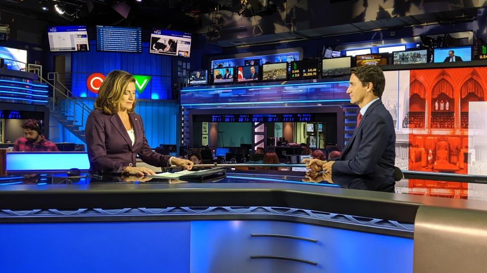 Liberal Leader Justin Trudeau sat down for an interview with CTV News' Chief Anchor and Senior Editor Lisa LaFlamme on Oct. 9, 2019. (Mary Nersessian/CTV News)