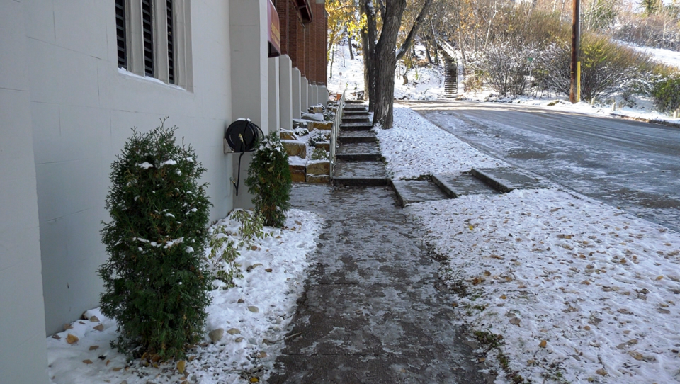 The city is full of slippery sidewalks following Tuesday's snowfall.