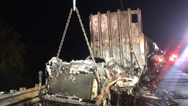 Truck fire closes 401 east