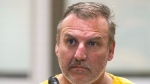 Brian Steven Smith is shown being arraigned on a charge of first-degree murder at the Anchorage Jail courtroom Wednesday, Oct. 9, 2019, in Anchorage, Alaska. (Loren Holmes/Anchorage Daily News via AP)
