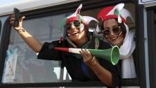 Iranian women arrive to the Azadi Stadium