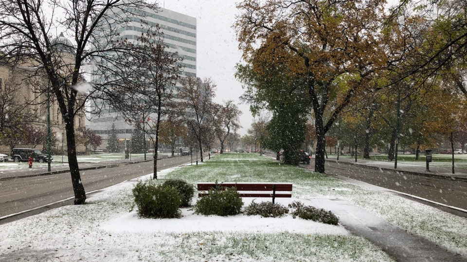 Winnipeg got covered in a blanket of snow Oct. 10, 2019. (Lizzy Symons/CTV News)