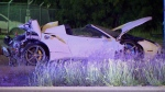 This photo taken from video provided by KDFW Fox 4 shows the scene after welterweight boxing champion Errol Spence crashed a speeding Ferrari in Dallas, on Oct. 10, 1019. (KDFW FOX4 via AP)