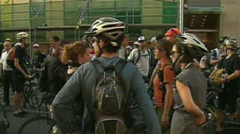 Hundreds of cyclists gather at a protest on Wednesday, Sept. 2, 2009, in honour of Darcy Allen, who was involved in a fatal accident that ended in his death.