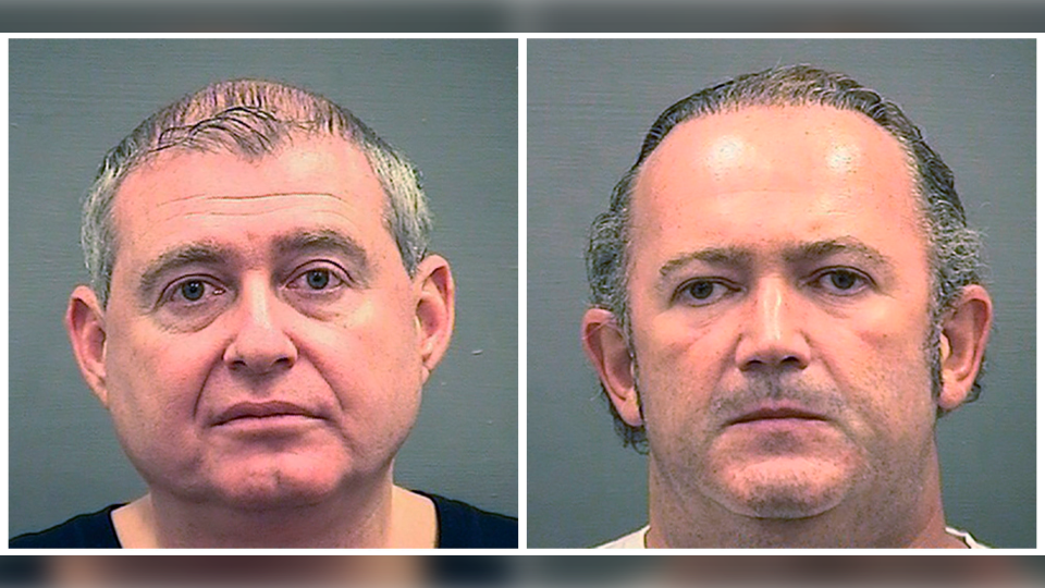 This combination of Wednesday, Oct. 9, 2019, photos provided by the Alexandria Sheriff's Office shows booking photos of Lev Parnas, left, and Igor Fruman. (Alexandria Sheriff's Office via AP)