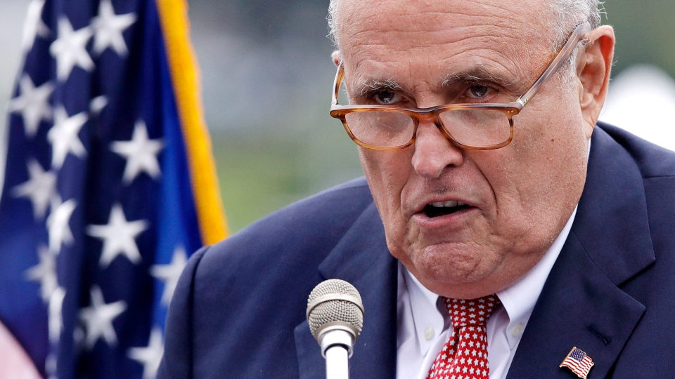 This Aug. 1, 2018, file photo shows Rudy Giuliani, an attorney for President Donald Trump, in Portsmouth, N.H. As Giuliani was pushing Ukrainian officials in the spring of 2019 to investigate one of Donald Trump's main political rivals, a group of individuals with ties to the president and his personal lawyer were also active in the former Soviet Republic. (AP Photo/Charles Krupa, File)
