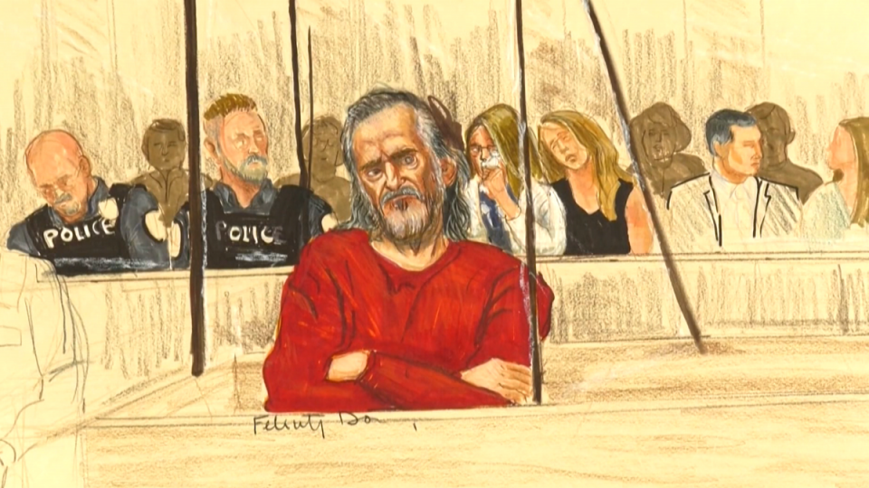 Oscar Arfmann is shown in a court sketch.
