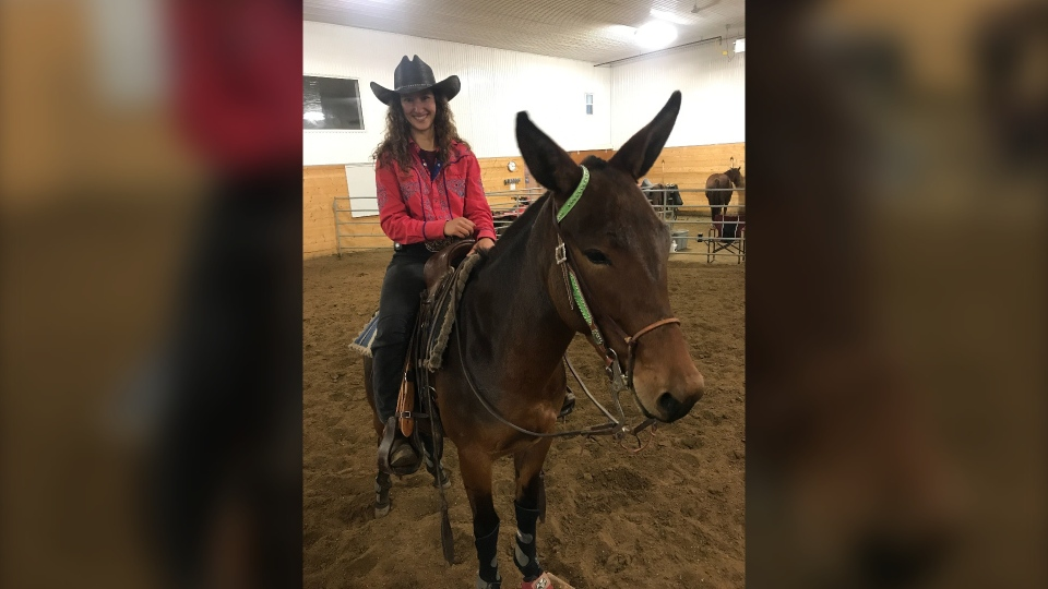 Melissa Glowinski is competing in extreme cowboy racing on a mule. Oct. 10, 2019. (CTV News Edmonton)