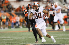 Oklahoma State wide running back  Chuba Hubbard (30) sprints up the field during the second half of an NCAA college football game with Oregon State in Corvallis, Ore., Friday, Aug. 30, 2019. (AP Photo / Amanda Loman)