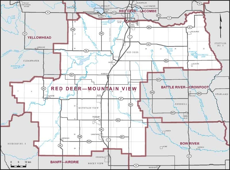 A federal riding boundary map is shown for Red Deer—Mountain View. (Elections.ca)