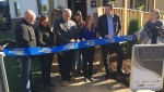 Officials from Redwood Communities, the David Busby Centre, the County of Simcoe and the City of Barrie cut the ribbon for the official opening of Lucy's Place in Barrie on Thurs., OCt. 10, 2019 (Steve Mansbridge/CTV News)