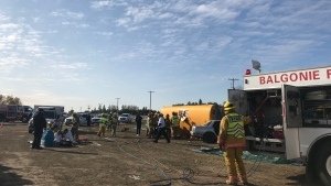 Students of Greenall High School witnessed a mock crash to show the dangers of impaired driving. (Cally Stephanow / CTV Regina)