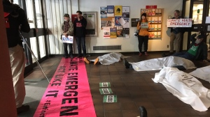 Environmental activists occupy the lobby of the B.C. Ministry of Health building in downtown Victoria: Oct 10, 2019 (CTV News)