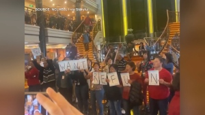 "Passengers aboard the cruise liner Norwegian Spirit protest, demanding a full refund, after a voyage nicknamed ""14 days to Hell."" (@NCLHELL / Twitter via Storyful)"