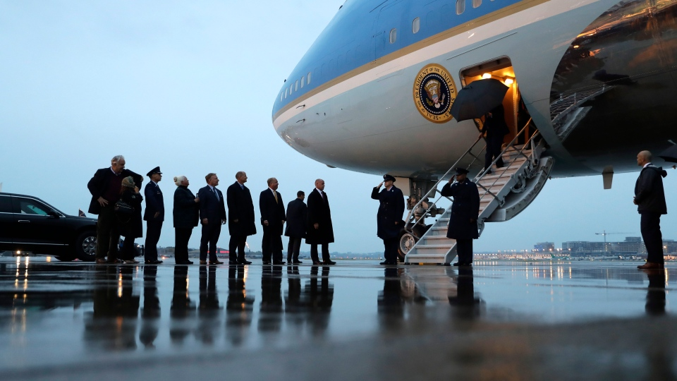 U.S. President Donald Trump arrives at Minneapolis-Saint Paul International Airport, Thursday, Oct. 10, 2019, in Minneapolis. (AP Photo/Evan Vucci)