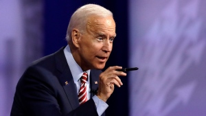Democratic presidential candidate former Vice President Joe Biden speaks during the Power of our Pride Town Hall Thursday, Oct. 10, 2019, in Los Angeles. (AP Photo/Marcio Jose Sanchez)