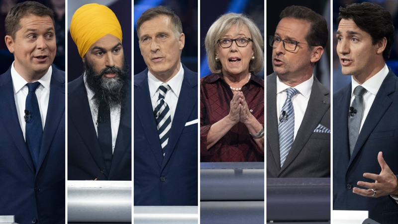 Conservative Leader Andrew Scheer, NDP Leader Jagmeet Singh, People's Party of Canada Leader Maxime Bernier, then-Green Party Leader Elizabeth May, Bloc Quebecois Leader Yves-Francois Blanchet and Liberal Party Leader Justin Trudeau are seen in this composite image from the French-language debate on Oct. 10, 2019.  (Images: The Canadian Press)