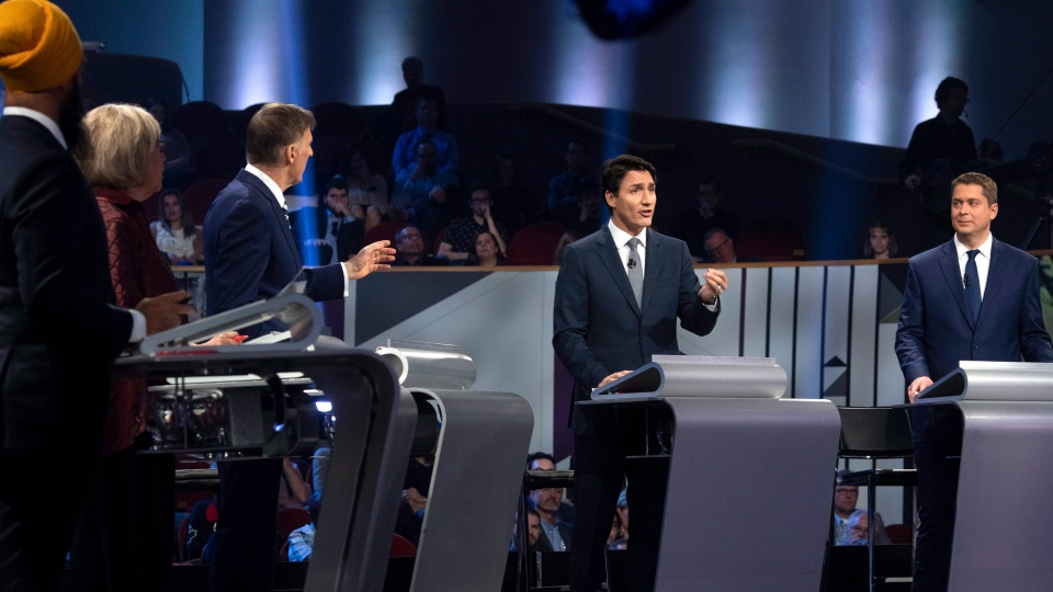 Federal party Leaders, left to right, NDP Leader Jagmeet Singh, Green Party Leader Elizabeth May, People's Party of Canada Leader Maxime Bernier, Liberal Leader Justin Trudeau, Conservative Leader Andrew Scheer, take part in the French-language debate in Gatineau, Que. on Thursday, October 10, 2019. THE CANADIAN PRESS/Adrian Wyld