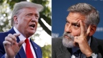 U.S. President Donald Trump, left, and George Clooney are seen in this composite image. (Alastair Grant / Patrick Semansky / AP)