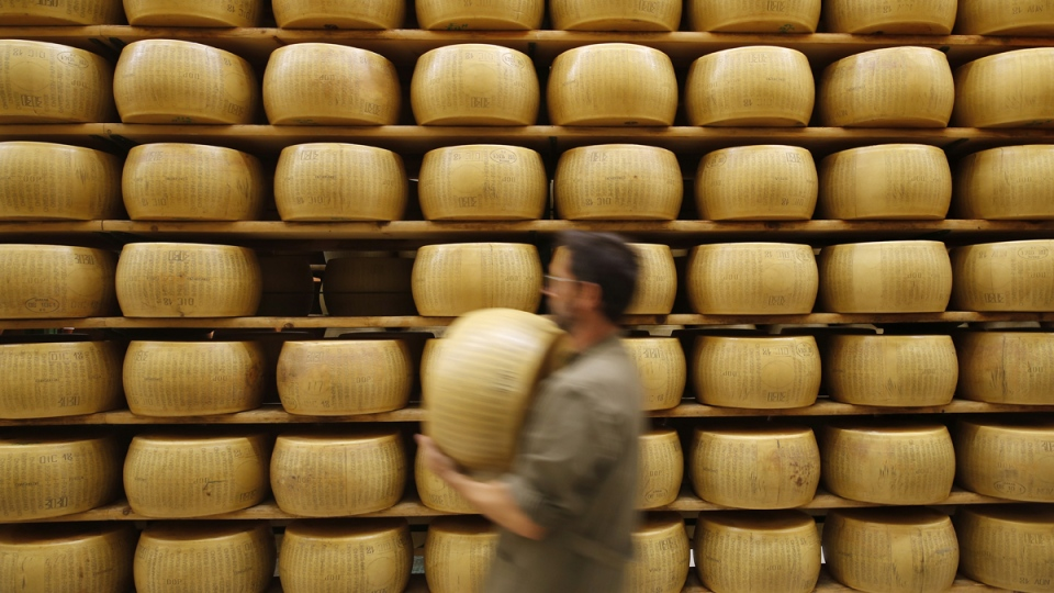 Parmigiano Reggiano Parmesan cheese wheels are stored in Noceto, near Parma, Italy, on Oct. 8, 2019. (Antonio Calanni / AP)