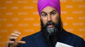 NDP leader Jagmeet Singh answers question from the media during a campaign stop in Ottawa on Friday, October 11, 2019. THE CANADIAN PRESS/Nathan Denette