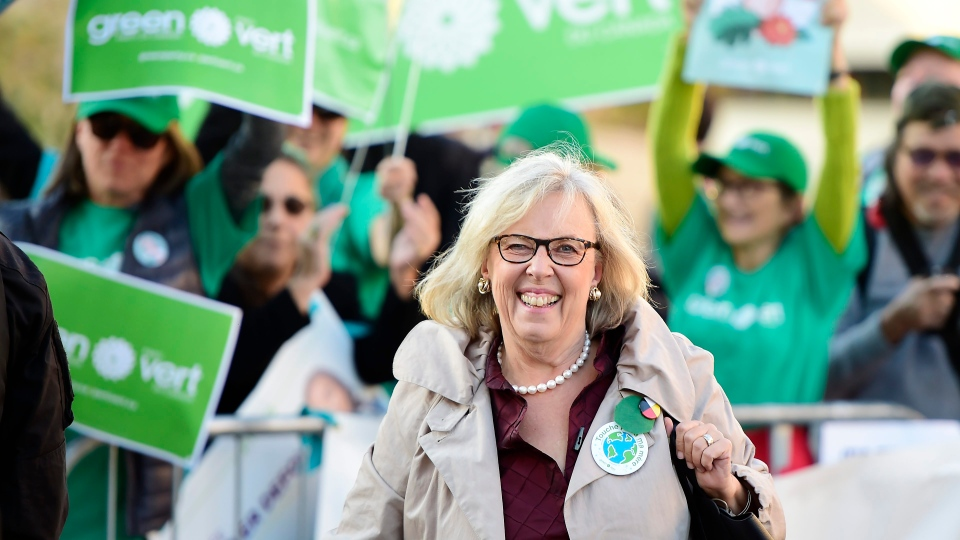 Green Party Leader Elizabeth May arrives for the French-language Federal leaders' debate in Gatineau, Que., on Thursday, Oct. 10, 2019. THE CANADIAN PRESS/Frank Gunn