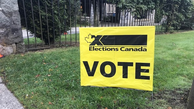 Voting sign seen in Burnaby.