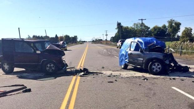 highway 6 crash head-on collision caledonia