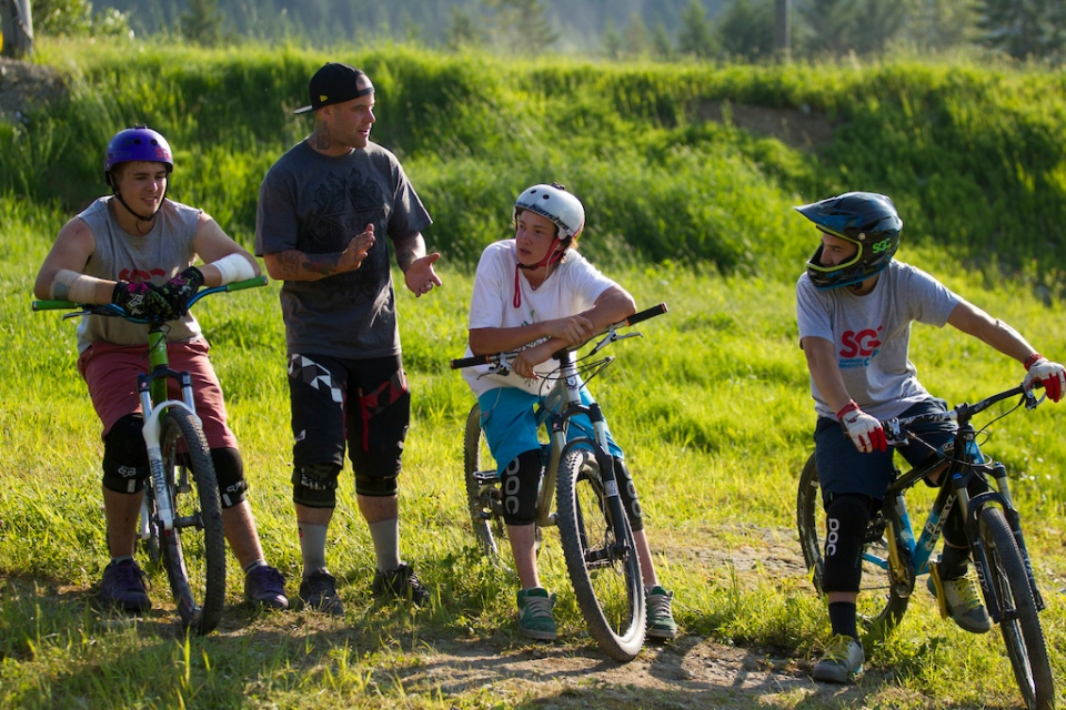 Jordie coaching at Summer Gravity Camps in 2012 (Photo by Sterling Lorence/Pink Bike)