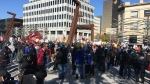 Striking Unifor Crown employees in downtown Regina (Wayne Mantyka / CTV News Regina)