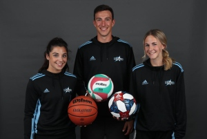 VIU athletes don the new Mariners/Adudas/Kahunaverse Sports apparel, left to right: Amber Lease, Jeff Webb, Cara Dunlop (Vancouver Island University)