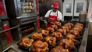 Rotisserie chickens from Costco can be seen in this image.  (David P. Morris/Bloomberg/Getty)