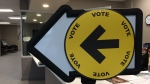 A vote sign at advance polls in Windsor, Ont., on Friday, Oct. 11, 2019. (Stefanie Masotti / CTV Windsor)